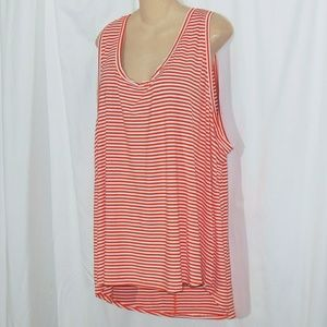 Ava & Viv Sleeveless Striped High Low Top Size 4X